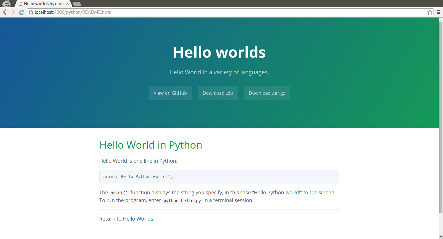 Python README with theme