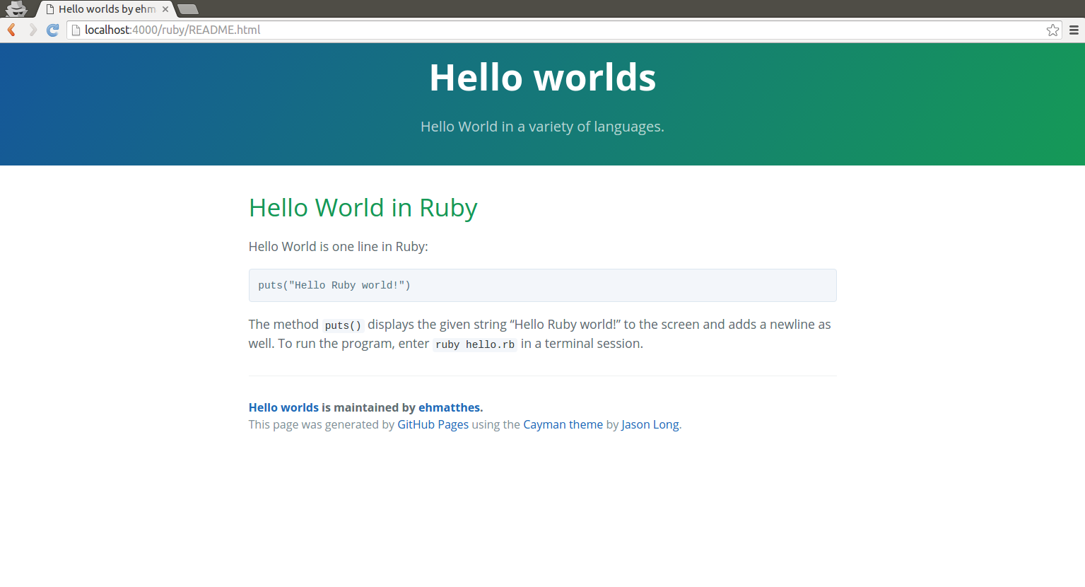 Ruby README page